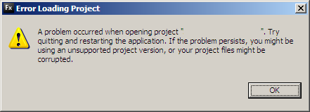 Error Loading Project